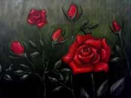 Red roses and rosebuds by DarkFreya123