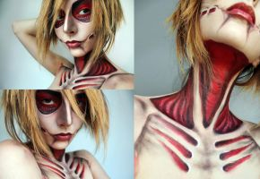 Annie Female Titan Cosplay make-up 2 by MissFlavour