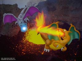 Aerodactyl VS Charizard by WarBandit