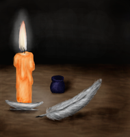 Pen, candle... and inspiration by SparkleStarCat