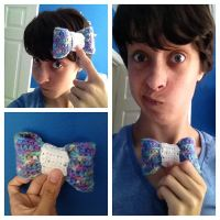Blue-Rainbow Crochet Bow by CassMutt