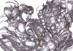 Chun-Li vs. Akuma (pencils) by emmshin