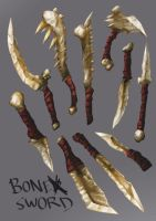 Bone weapons by Lutherniel