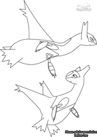 Latios and Latias Line Art by Dragon-Minded