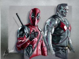 Deadpool and Colossus by Rikwilkinsonartist