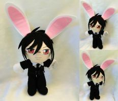 Commission, Mini Plushie White Rabbit Sebastian by ThePlushieLady