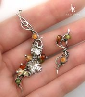Autumn Twig silver ear pin and stud by JSjewelry