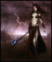 Dark Elf Sorceress by daarken