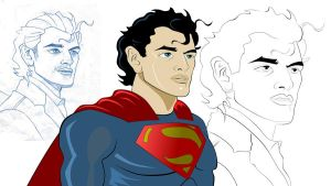 Henry Cavill Superman Art Sketch by Gadieon