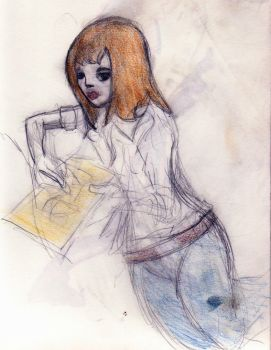 girl drawing in a corner by TrevWolf