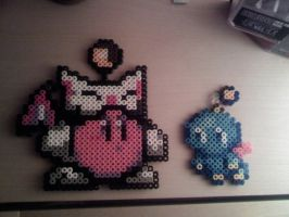 Perler Mog Kirby and a Chao by FatalJapan