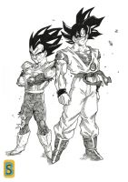 Goku and Vegeta -namek saga- by bloodsplach