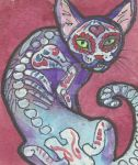 ACEO day of the dead cat by jupiterjenny
