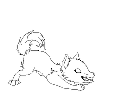 Playful Wolf pup lineart by Faustina13