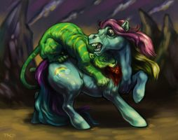 Pony Attacked By a Battlecat by grungepuppy