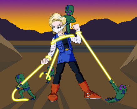 Android 18's Alien Abduction by imightbemick