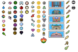 Pokemon World Badges, Symbols and trohpies by Bentenny10