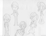 humanized Fluttershy sketchdump by LilyQueenOfPurple