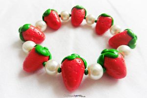 Strawberry Bracelet by Cateaclysmic
