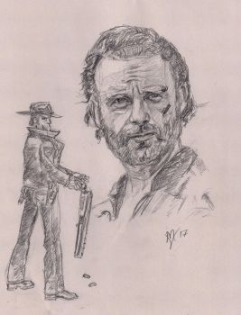 Rick Grimes Sketch with issue 1 homage by Gossamer1970