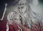 Red Sun Rising - Thranduil and his wife by FarrahPhoenix