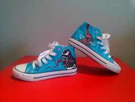spiderman and venom shoe by neraksel