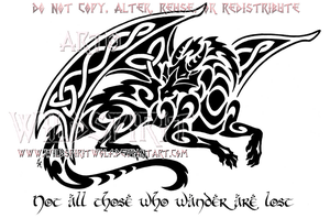 Smaug Celtic Tribal Dragon Design by WildSpiritWolf