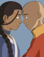 Aang and Katara by BlueDecember89