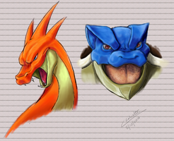 Mega Blue and Mega Red version speedpaint by Chenks-R