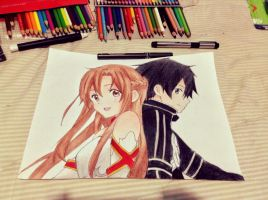 Kirito And Asuna by usui-pm
