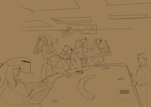 Chilling at the Casino - WIP by VillageIdiot55