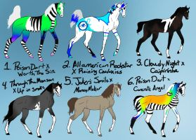 April-May Gaited bloodline Adoptables CLOSED by naomithewolf