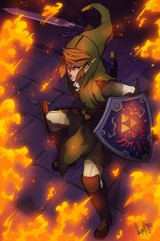 LINK : THE LEGEND OF ZELDA FANART : I SEE FIRE by FelipeJiRo