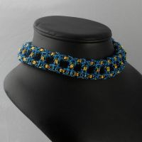 chk054 Blue over Gold Byz Box Choker by Tarliman