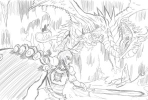 Dragon-Cave Battle by arvalis