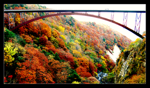 Bridge and Autumn Mountain 1 by theblindalley