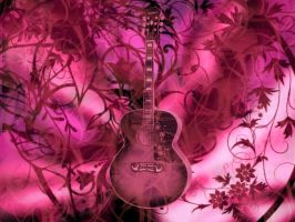pink guitar wallpaper by lnx03