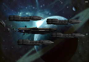Escorting the UNSC Infinity by Reaver75
