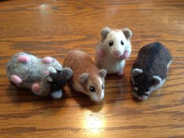 Needle Felted Custom Dwarf Hammies by CVDart1990