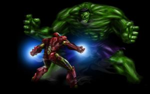 Ironman vs the  Hulk by legin21