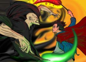 Harry and Voldemort faceoff by Golden-Flute