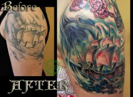 Colorful Ship Re-Work Tattoo done by Sean Ambrose by seanspoison