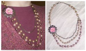 Victorian Dusty Rose necklace by TheBrassGlass