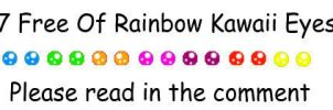7 Free Of Rainbow Kawaii Eyes Avatars Pack by Life-is-the-bubbles