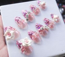 Pink Glitter, 3D flowers by jadelushdesigns