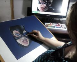 sketch catwoman by leidanogueira
