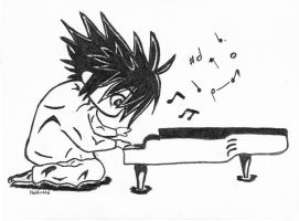 L Lawliet playing piano by Skaellj