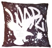 Quilted Throw Pillow - War: What's It Good For? by ilisa-ilisa