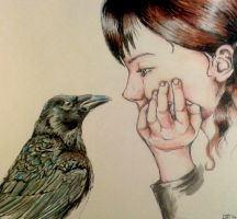 Girl with the crow by lizzardhunter