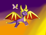 Spyro Flying into the Sunset by KendraTheShinyEevee